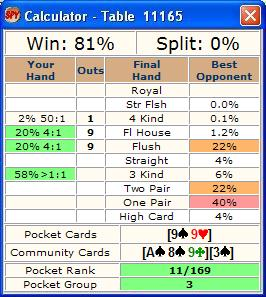 poker win percentage calculator
